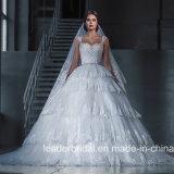 Reale Foto-Hochzeits-Kleid-Spitze-Tulle-abgestufte geschwollene Brautkleider G17289