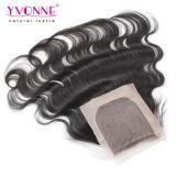 ブラジルボディ波の人間の毛髪の絹の基礎閉鎖