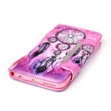 Farbiger Drawing Leather Fall Handy Flip Cover für iPhone