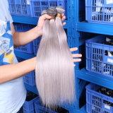 Jungfrau-Haar-gerade graue Haar-Webart-silbernes Grau-Menschenhaar-Extensions-graues brasilianisches Haar des Grad-7A brasilianische gerade