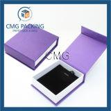 Caisse d'emballage fabriquée à la main pourprée de bracelet de velours de Customzied (CMG-PJB-042)