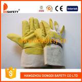 Желтый PVC с белыми перчатками Dgp103 заднего сада хлопка