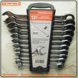 Комплект гаечного ключа ключа комбинации инструментов 12PCS гибкий реверзибельный Ratchetable Ostar