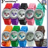 Yxl-903 Las flores más nuevas de Ginebra de las mujeres imprimieron el reloj análogo análogo del reloj de muñeca de la venda del silicón blanco para el regalo
