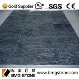 Dessus en bois fait sur commande de table ronde de marbre de noir des graines