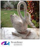 Естественной каменной чисто белой мраморный высеканная рукой скульптура лебедя животная с подгоняно