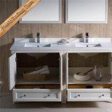 Fed-1072D doppelte Wannenmatt-weißer Quarz-oberste festes Holz-Badezimmer-Schränke