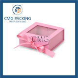 Caja de cartón rosada con la ventana del PVC (CMG-PGB-024)