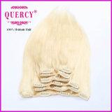 人間の毛髪の拡張クリップ毛のブラウン卸し売りRemyの毛