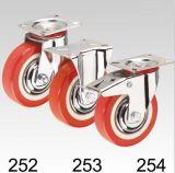 Platten-Spitzenstahlnabe rote PU-steife Fußrolle