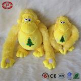 Jouet mou jaune de cadeau brodé par Noël de la CE de peluche de singe
