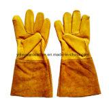 Золотистые перчатки заварки TIG безопасности кожи с сохранённым природным лицом коровы
