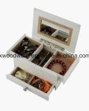 Boîte-cadeau en bois de mémoire de bijou de fini mat blanc pour des gosses