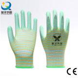 13G Zebra Polyester PU Coated Safety Luvas