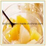 Pêssegos enlatados frescos, pêssegos amarelos enlatados, frutas enlatadas