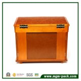 Caixa de armazenamento de madeira maciça personalizada com espelho