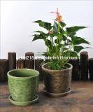 Planteur en céramique vitré décoratif de jardin avec la soucoupe (GW1749)
