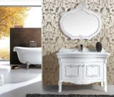 Mirror를 가진 고대 Solid Wood Floor Standing Bathroom Vanity