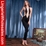 Tiefer V-Stutzen der reizvollen Frauen koketter Messfinger-Backless Overall Clubwear Kostüm