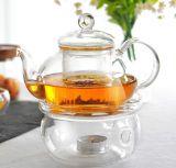 Forma clara de cristal redonda Base Calentador té café crisol de flor de la tetera