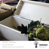 Rectángulo de regalo de madera de lujo del vino del color natural de encargo de Hongdao con el _E con bisagras de la venta al por mayor de la tapa