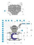 Valvola a sfera dell'acciaio inossidabile di 3 modi con il rilievo di montaggio di iso 5211 1000wog