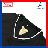 Формы рубашек трикотажных изделий футбола команды вышивки Mens черные
