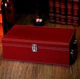 Rectángulo doble de cuero del vino de la PU del negro clásico, rectángulo de regalo del vino rojo