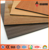 内装と外装のための木材のテクスチャACPコーティングされた2ミリメートル3ミリメートル4ミリメートル5ミリメートル6ミリメートルPE&PVDFローラー