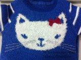 Gestrickte Strickjacke des Kindes - Mädchen Intarsia Katze-Überbrückungsdraht