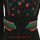 Ladies를 위한 긴 Sleeve Embroideried Belt Fashion Print Blouse