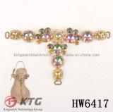 Les chaînes en cristal de forme de Ktg T pour la décoration de bascule électronique chausse l'accessoire