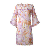 경례군악 레이스 퍼프 소매 섹시한 꽃 인쇄된 숙녀 복장