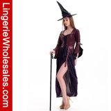 Платье женщин пурпуровое длиннее с Costume Cosplay ведьмы Salem тельняшки Brown