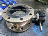 A válvula de borboleta alinhada EPDM flangeada dobro do elevado desempenho com caixa de engrenagens opera-se