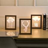 pista LED de los ciervos del marco de madera de la luz LED de la noche de la ilusión 3D/lámpara de la flor/de vector del corazón para el regalo cambiable de la Navidad del cumpleaños del cabrito del color del RGB de la iluminación de la decoración del hogar del dormitorio