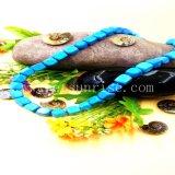 사각은 Stablized 순수한 자연적인 터키석으로 만든 목걸이를 구슬로 장식한다