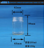 Bottiglia di vetro del miele della cristalleria del commestibile con stampa