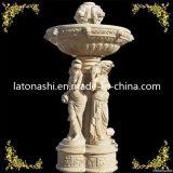 Fonte de água de pedra de mármore natural para o jardim ao ar livre decorativo