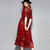 Платье красного шкафута флористической печати эластичного длиннее для женщин