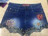 Вышивка завивая вскользь джинсыы джинсовой ткани женщин не доходя