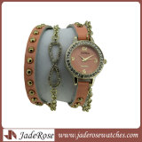 Ladies Hand Made Long Leather Strap Quartz Watch with Chain