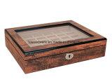 Caixa de presente de madeira do indicador do armazenamento da jóia do anel do revestimento elevado antigo do lustro do piano de Brown