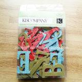 etiquetas engomadas cortadas con tintas hechas a mano del arte de papel del cartón del brillo del alfabeto 3D/de la carta