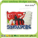 Imbracatura promozionale personalizzata di Singapore del ricordo dei magneti del frigorifero del PVC della decorazione dei regali (RC-SG)