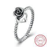 925純銀製のClassiclデザインローズの形の中心のリングの方法宝石類