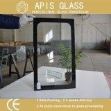 Напечатанное шелковой ширмой стекло двери печи черной рамки Tempered