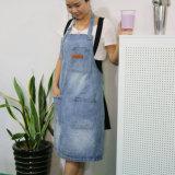 Schort van het Werk van het Denim van de Was van de Hoogste Kwaliteit van de Douane van de fabriek de Blauwe voor de Winkel en de Staaf van de Koffie