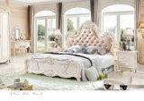 백색 단단한 나무 가구 (6011)를 가진 프랑스 호화스러운 왕 작풍 하얀 가죽 침대 침실 세트