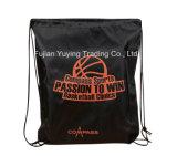 черный Nylon Backpack мешка Drawstring 210d с изготовленный на заказ печатание
